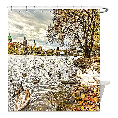 Liguo88 Custom Waterproof Bathroom Shower Curtain Polyester Decor Prague Charles Bridge and Old Town Czech Republic Riverside Scenic View with Swans Decor Gold Grey Decorative - Galleria The Riverside