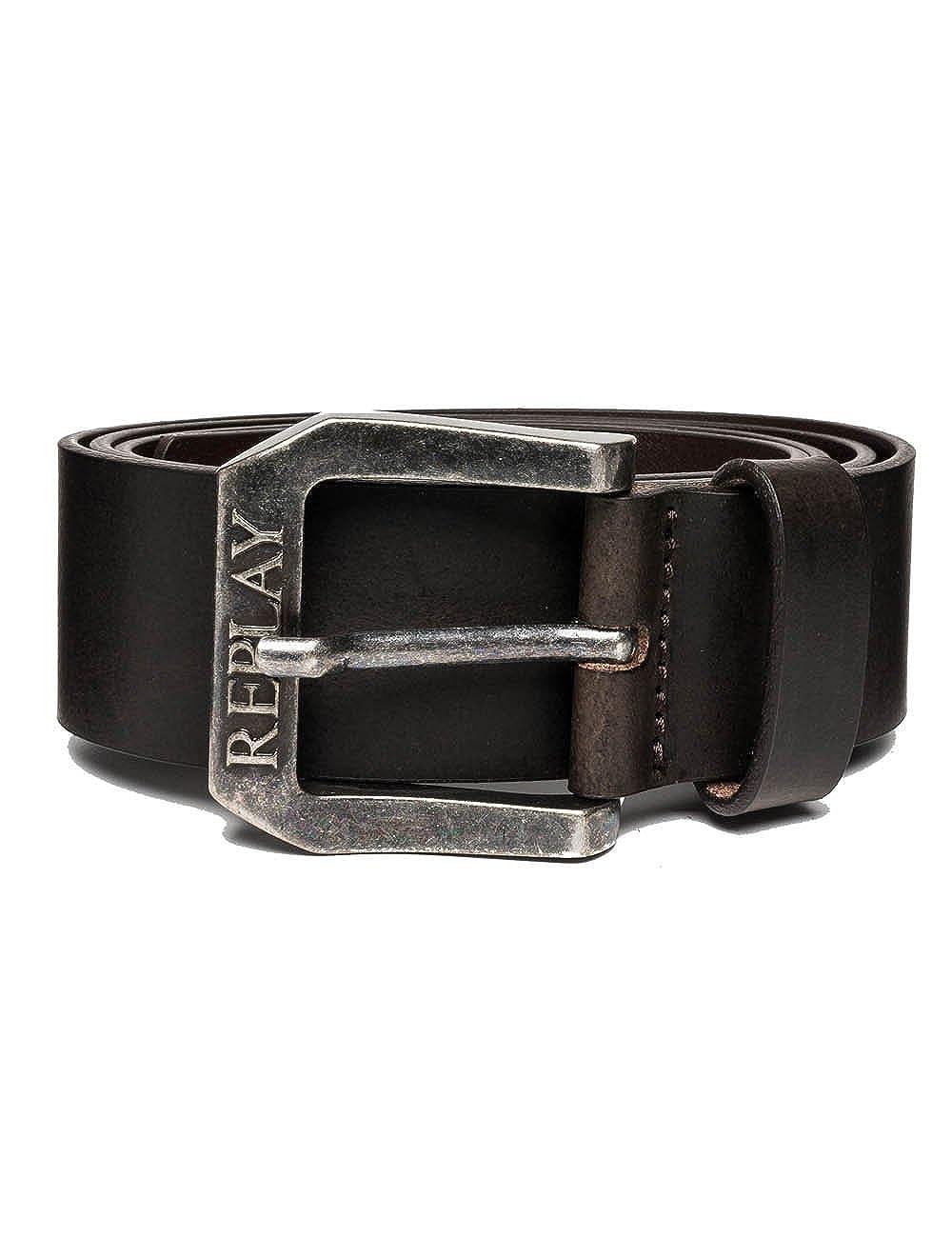 Replay Embossed Buckle Mens Leather Belt Black