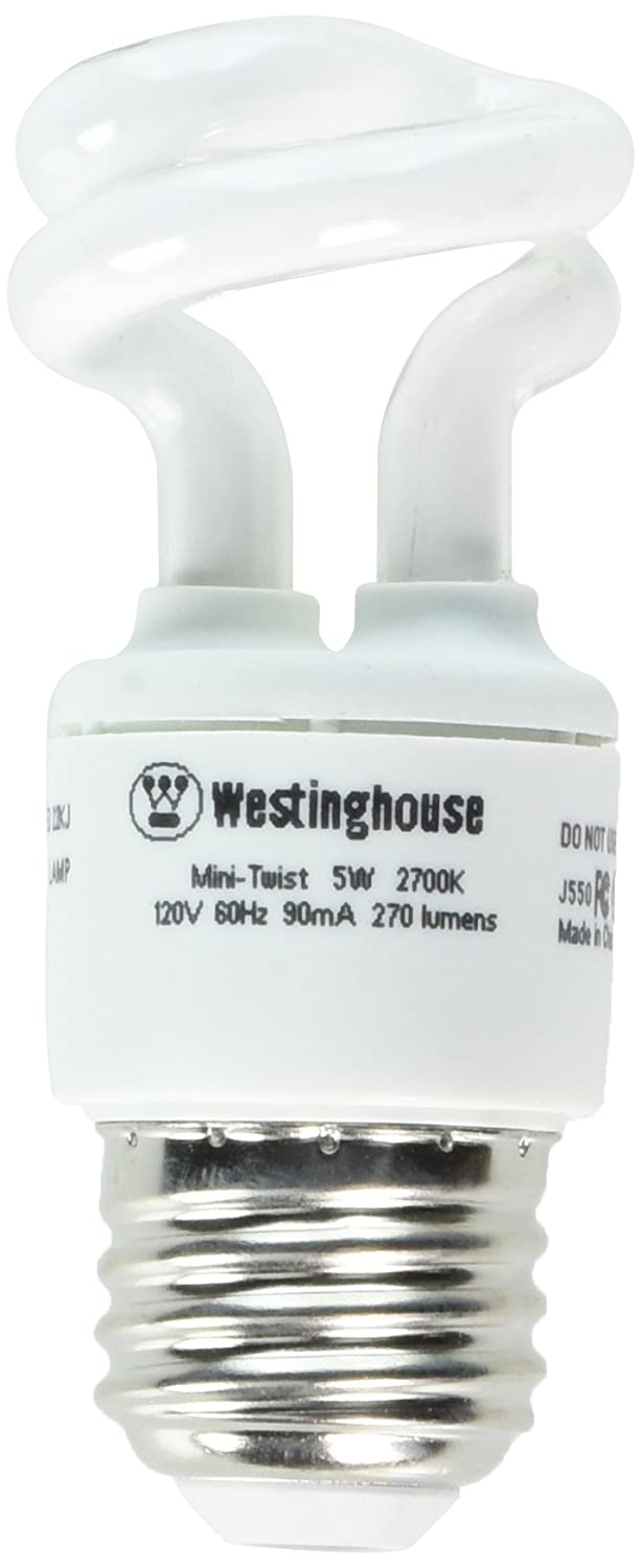 Westinghouse 3667000, 5 Watt CFL Light Bulb, (25W Equal) 2700K Soft White 82 CRI 270 Lumens