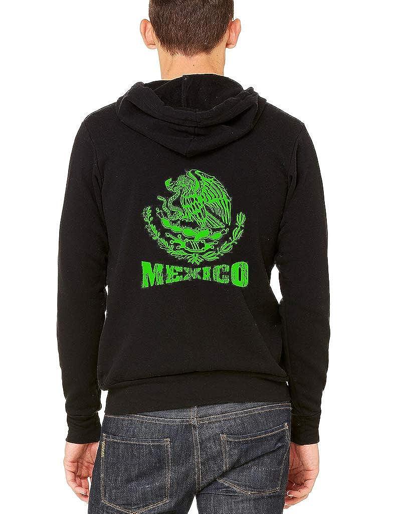 Interstate Apparel Mens Green Mexico Seal Black Fleece Zipper Hoodie Black
