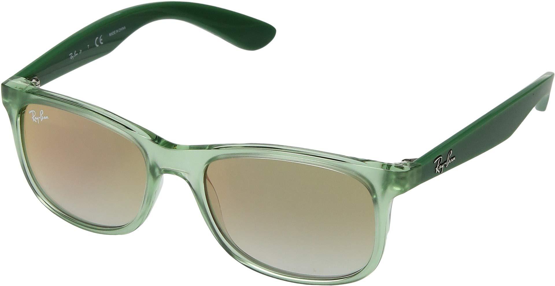 RAY-BAN JUNIOR Kids' RJ9062S Rectangular Kids Sunglasses, Transparent Green/Green Red Gradient Mirror, 48 mm by RAY-BAN JUNIOR