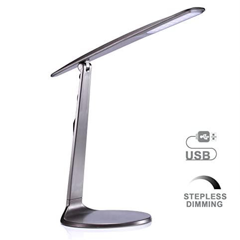 LED Desk Lamp, AVAWAY Stepless Dimmable Table Lamp, USB Powered ...