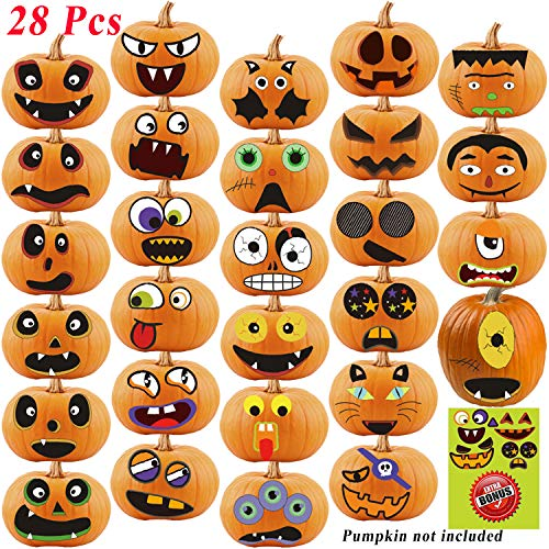 Ryohan Halloween Pumpkin Face Stickers 28 Pcs Pumpkin Decorating Stickers Halloween Pumpkin Face Craft