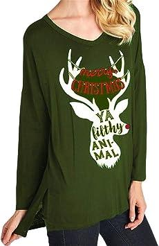 Women Christmas Reindeer Elk Print Long Sleeve Fashion Hoodie Pullover Sweater Sweatshirt