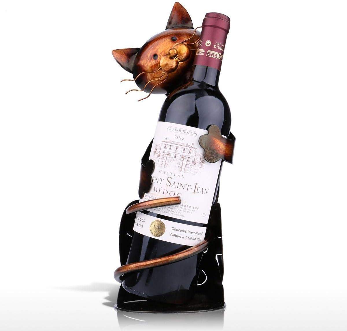 MINLIN Cat Shaped Wine Holder Wine Shelf Metal Figurine Practical Figurine Rack for Wine Bottle Office Home Decor Wine Rack