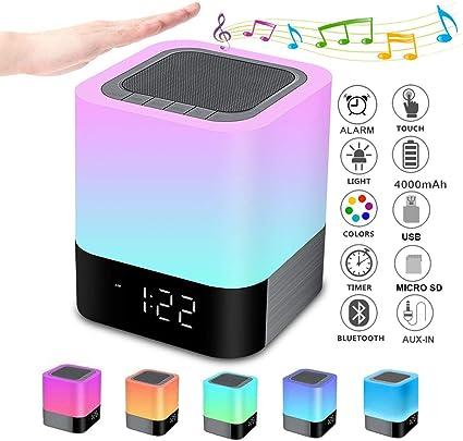 MP3 NEW Night Lights Bluetooth Speaker FM Wireless Stereo Speaker Alarm Clock