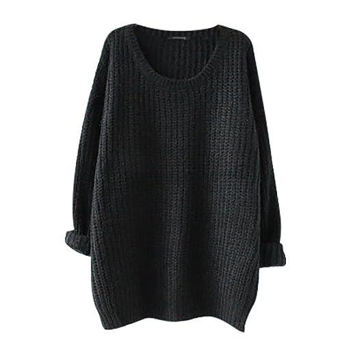 Minetom Mujer Otoño Invierno Moda Jerséis De Punto Suéter Tops Casual Pullover Manga Larga Prendas De Punto