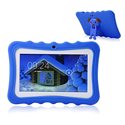 TEEPAO Tablet táctil niños, Tablet 7 Pulgadas WiFi, Android 4.4, IPS HD 1024 x 600, Silicona, Funda de función Atril Tablet con cámara: Hogar