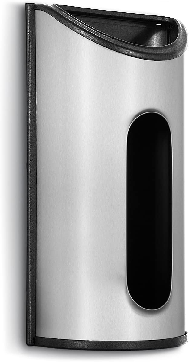Malmo 1 x Stainless Steel Wall Mount Grocery Bag Dispenser, Anti-Fingerprints, Silver: Kitchen & Dining