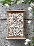 Wooden Key Rack Holder Box Cabinet Storage Container Wall Mounted With Floral Motif and 6 Hooks Hand Carved Distressed Finish Shabby Chic Decorative Item (10 X 7 Inches)