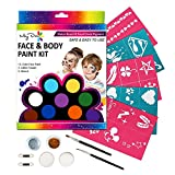 Face Paint Kit for kids with 12 Non-Toxic Color Palette, FDA Compliant & Water Based, Best Quality Body Painting Set with 2 Glitters + 30 Stencils + 2 Sponges + 2 Foam Applicators + 2 Brushes