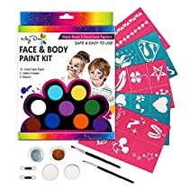 Maydear Face Paint Kit for Kids and Adults with 12 Colors Palette, Non-Toxic and FDA Compliant (Large)