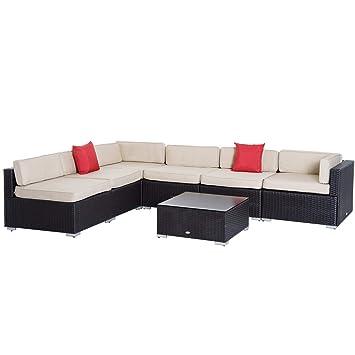 Outsunny Salon de Jardin 6 pers. Grand Confort canapé d\'angle + ...