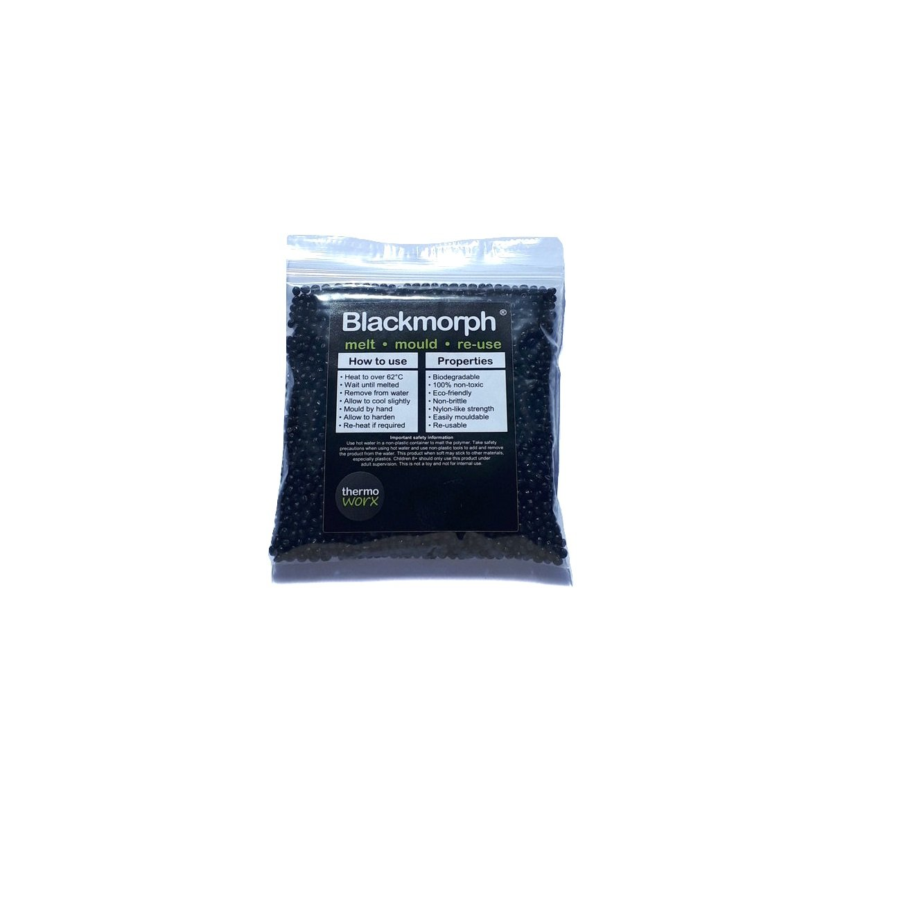 3.5oz Unlimited uses re-use Thermoworx Blackmorph Black Edition Hand moldable thermoplastic Polymer 100g Mold Biodegradable Repairs Crafts DIY eco-Friendly Melt Reusable