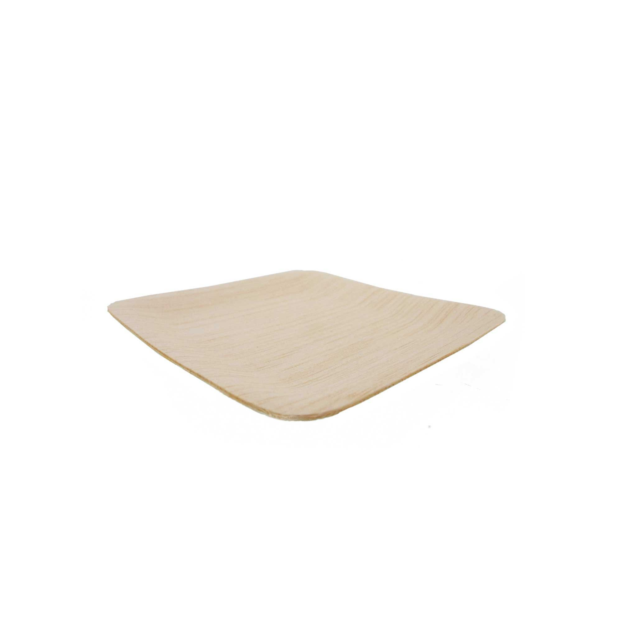 BambooMN Brand - 3.5'' (9cm) Square Disposable Bamboo Veneer Plates, 96pcs