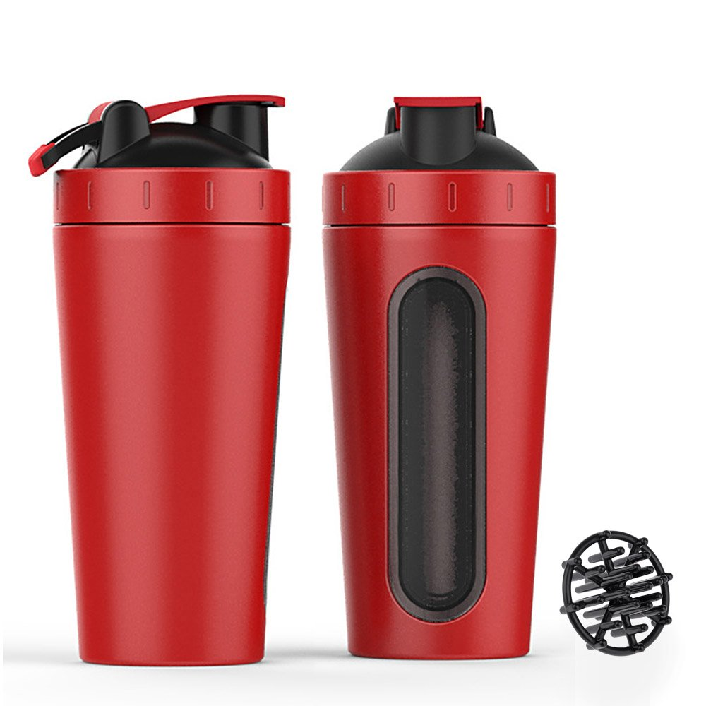New-Hi 700ml Protein Shaker Bottle, Stainless Steel Sport Water Bottle Protein Milkshake Shaker Cup Visible Window For Women Men Gym Fitness Workout-Red