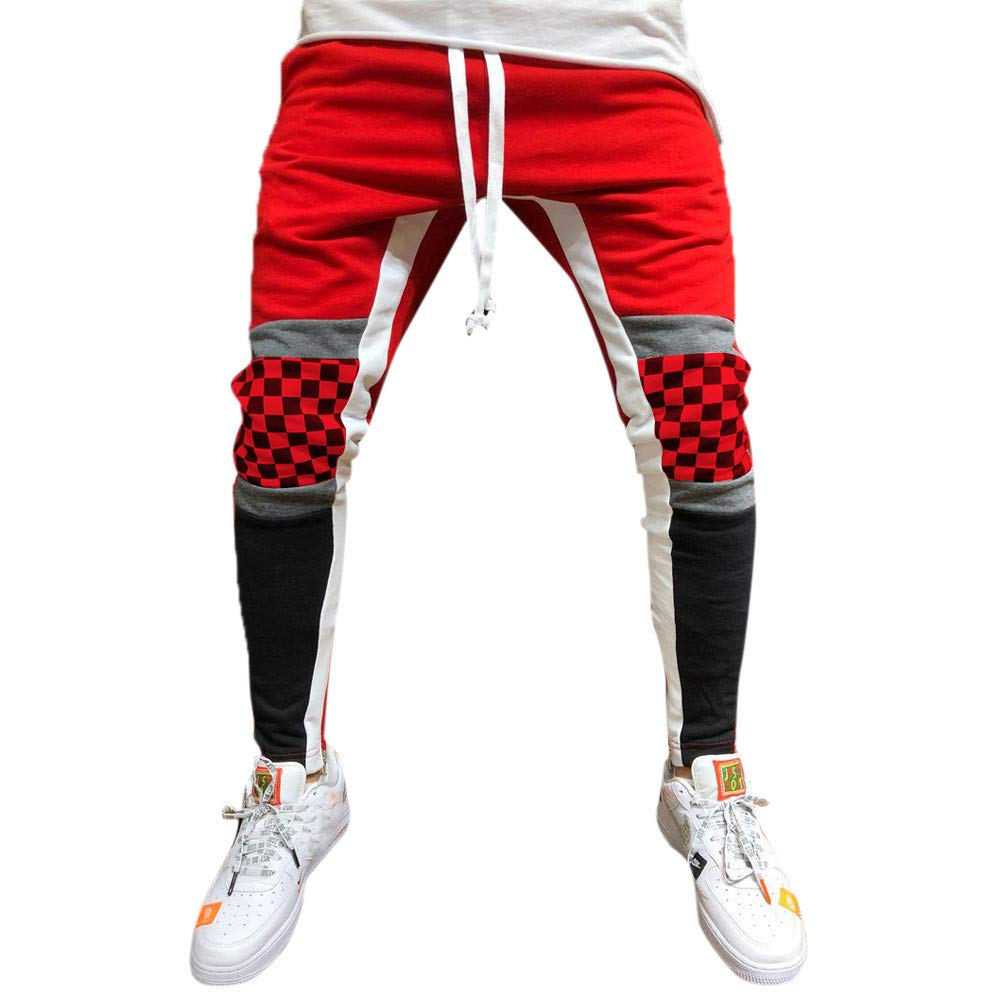 Nevera Men Patchwork Plaid Trousers Overalls Casual Pocket Sport Casual Pants Red