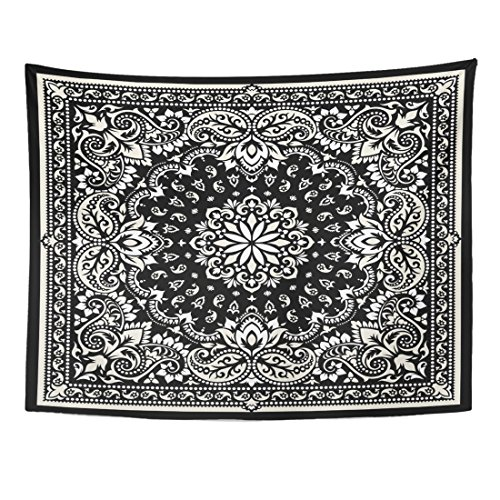 Emvency Tapestry Black Western Paisley Bandana Silk Neck Scarf Kerchief Pattern Design Style for Accessory Floral Home Decor Wall Hanging for Living Room Bedroom Dorm 60x80 Inches