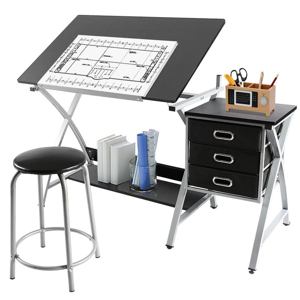 Yaheetech Adjustable Drafting Table Art & Craft Drawing Desk Art Hobby Folding w/Stool