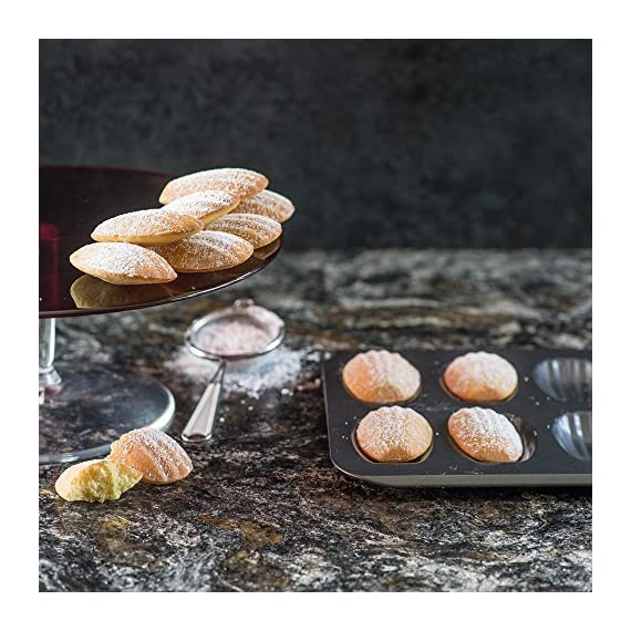 Bellemain 12-Cup Nonstick Madeleine Pan 3 Makes classic French shell-shaped madeleines Heavy-duty carbon steel Conducts heat quickly and evenly