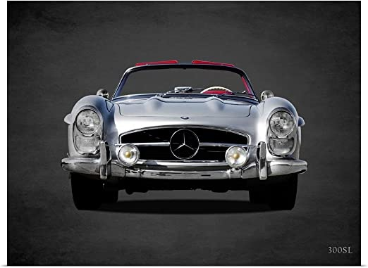 MERCEDES 300SL SILVER CLASSIC CAR LARGE  WALL PICTURE POSTER GIANT HUGE ART