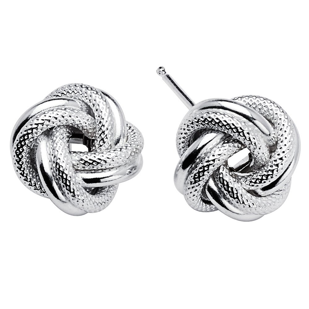 925 Sterling Silver Love Knot Rope Stud Earrings Rhodium Plated Made in Italy (10mm)