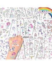 ACWOO Eenhoorn Tijdelijke Tattoos, 30 Vellen Eenhoorn Zeemeermin Tijdelijke Tattoo Stickers voor Kinderen, 350+ Patronen Waterdicht Verwijderbaar, Verjaardagsfeestje Bag Filler