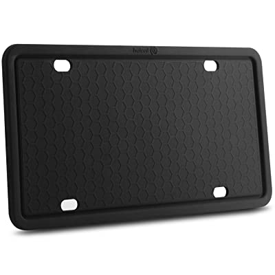License Plate Frames-Silicone Licenses Plate Covers Rust-Proof. Rattle-Proof. Weather-Proof.Shockproof for Automotive License Plate Frame - Black (Black-1 pack): Automotive