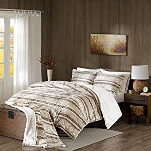Comfort Spaces - Adrien Sherpa Comforter Set + Throw Combo - 4 Piece - Fair Isle Pattern - Brown, Tan - King Size, includes 1 Comforter, 2 Shams, 1 Throw