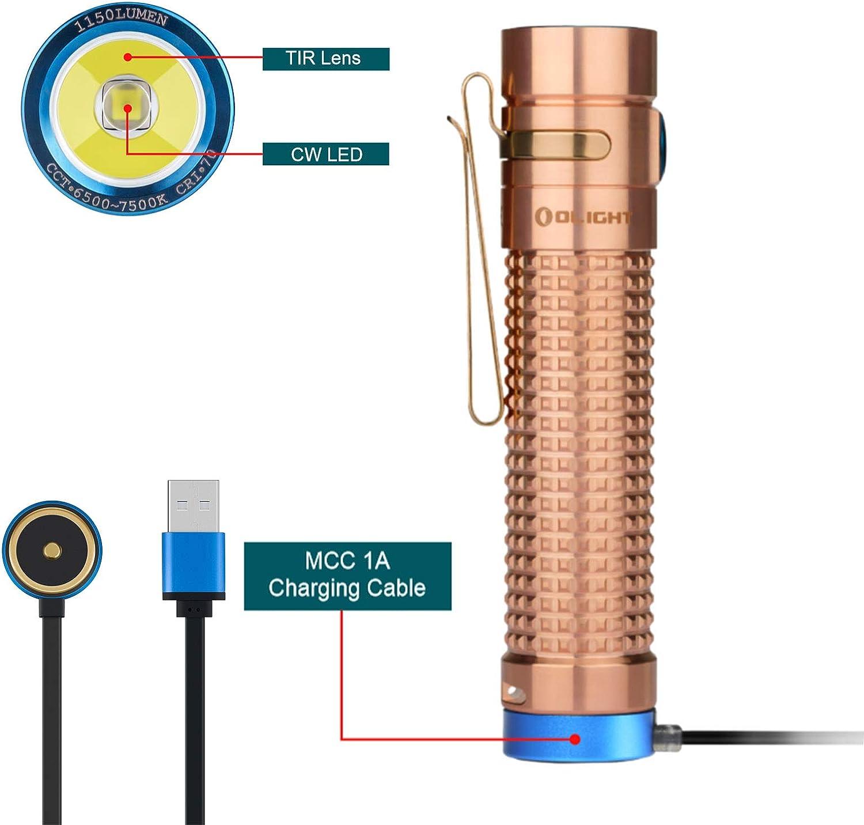avec 18650 Batterie Lampe de Poche EDC Magn/étique USB Rechargeable Caisse de Batterie Cuivre Olight S2R Baton II Cu Lampe Torche LED Puissante 1150 lumens // 135 m/ètres Luminus SST-40 CW LED