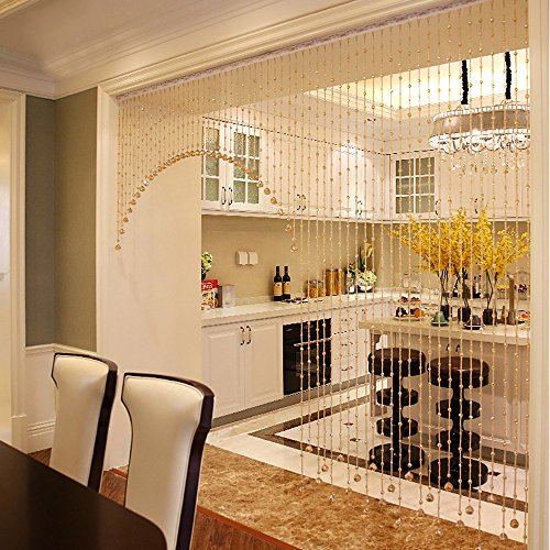 Gotian 1 Luxury Glass Beads Door String Tassel Curtain Wedding Divider Panel Room Decor - Crystal Glass and Stainless Steel Wire - As Decor for Your House (Beads Curtains For Living Room)