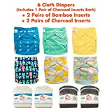 Lil Helper Day Pack - 6 Cloth Diapers and 2 Pairs of Bamboo and Charcoal Inserts