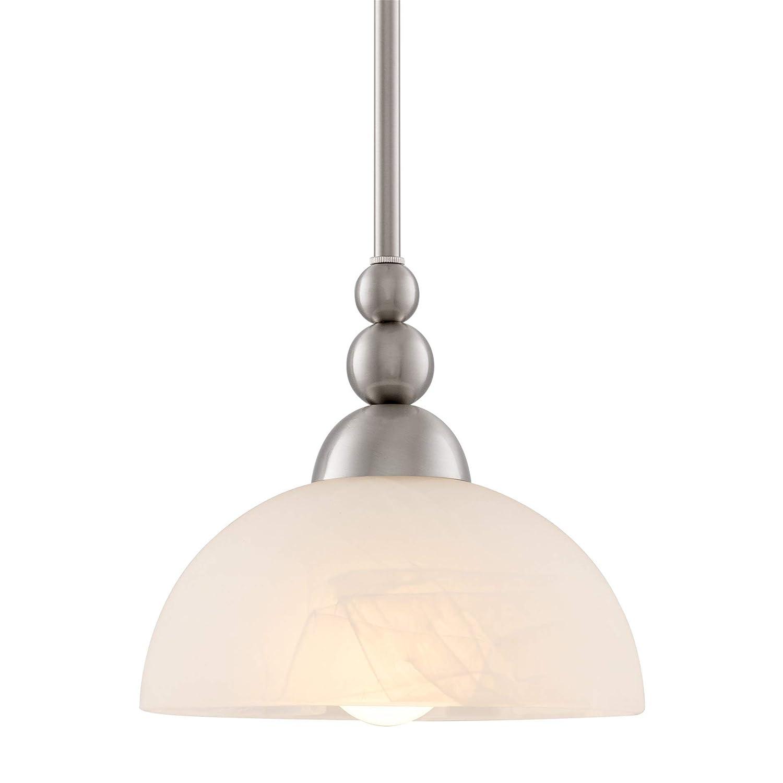 "Kira Home Athena 8"" Modern Pendant Light + Alabaster Glass Shade, Adjustable Hanging Height, Brushed Nickel Finish"