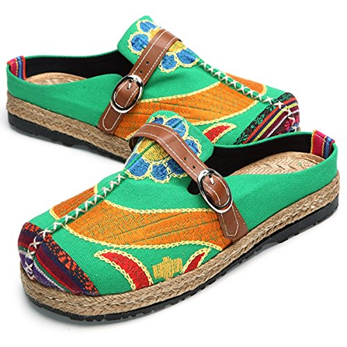 Slippers Breathable Walking Embroidered Outdoor Tezoo House Slipers Green Walking Colorful Women's 5ycSBq