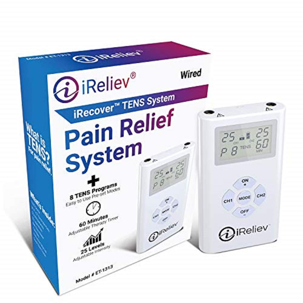 iReliev TENS Unit Electronic Pulse Massager & (8) Electrodes Pain Relief Bundle-100% Satisfaction or 14 Day $$ Back Guarantee. 2 Year Warranty. by iReliev