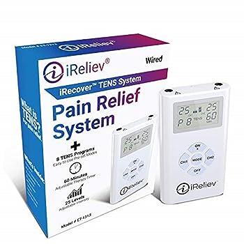 iReliev TENS Unit Electronic Pulse Massager & (8) Electrodes Pain Relief Bundle:
