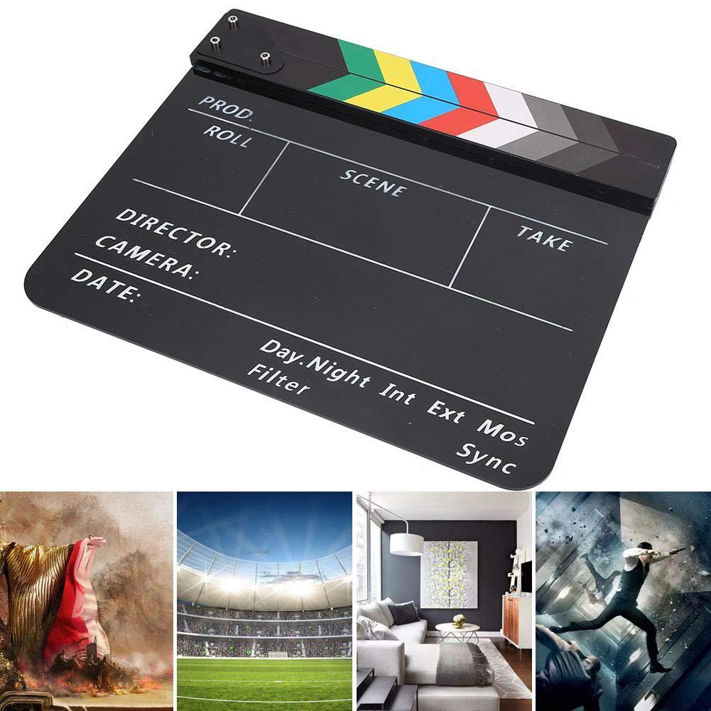 Acr/ílico Movie Director Scene Clapper Board TV Action Board Film Cut Prop con l/ápiz para Shoot Props//Publicidad//Decoraci/ón del hogar//Fondo Clap Boards