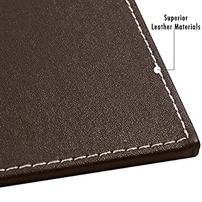 Premium computer desk pad-stylish mat cover provides perfect writing surface- made of leather for mouse and keyboard with top rail to keep paper or calendar in place-color brown size 24X18 inches