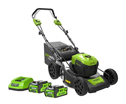 Greenworks Tools 2506807UC GD40LM46SPK2X 40V Greenworks Self Proppelled  Lawnmower 46cm (Complete with 2X 2ah Batteries and Charger), 40 V, Green