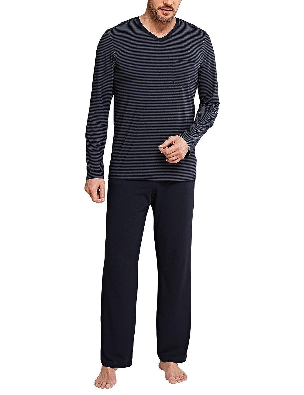 Schiesser Herren Zweiteiliger Schlafanzug Long Life Cotton Anzug Lang