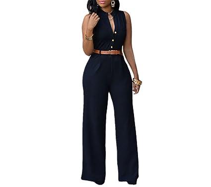 97f826066d4 Jongood Elegant Women Sleeveless Maxi Overalls Belted Wide Leg Jumpsuit 7  Colors S-2XL Plus