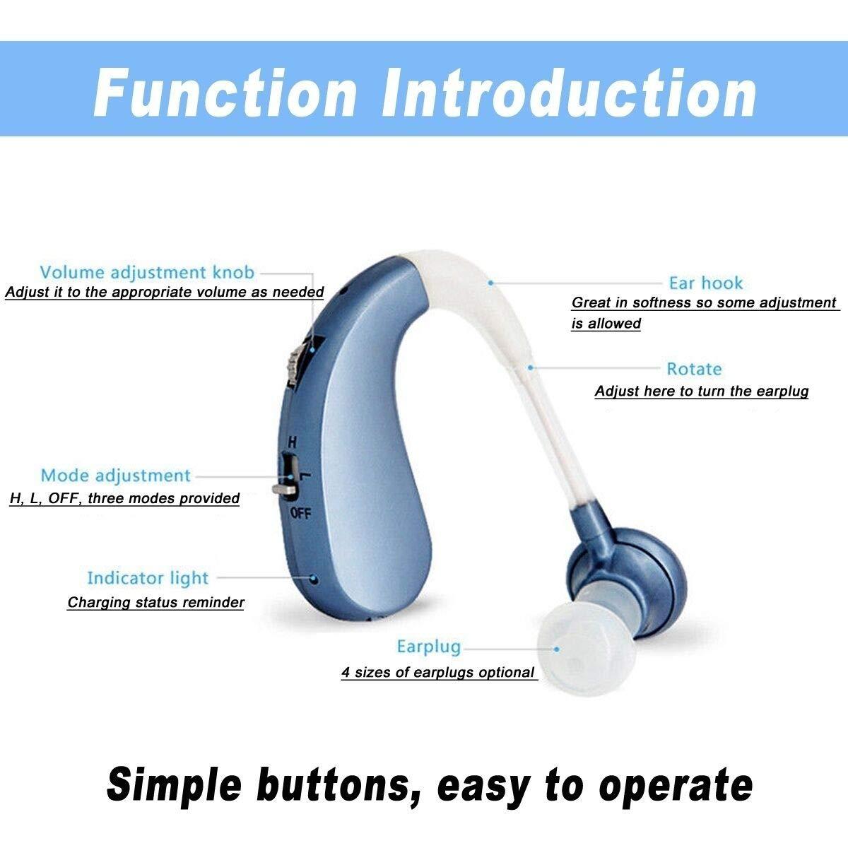 LAIWEN Digital Premium Hearing Amplifier Volume Controlable Feedback Canceling Sound Amplifier for Men Women PSAP by LAIWEN (Image #5)