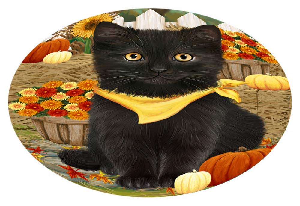 Doggie of the Day Fall Autumn Greeting Black Cat Pumpkins Oval Envelope Seals OVE65240 (50)