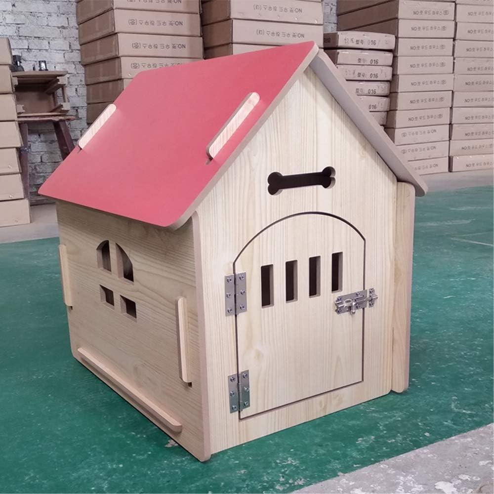 FTFDTMY Jaula para Gatos, Jaula para Mascotas Apartamento Plegable para Mascotas de Madera para Mascotas, Rojo, L