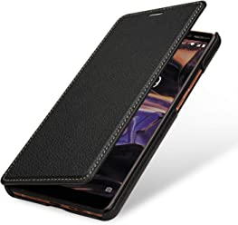 StilGut Book Type Case, Custodia per Nokia 7 Plus a Libro Booklet in Vera Pelle, Nero