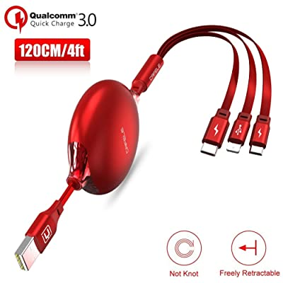 CAFELE USB Charging Cable 3 in 1 Fast Charger Cord Connector for Phone/Type C/Micro USB Port Retractable Power Adapter,Data Transfer QC 3A Compatible for Tablets/Samsung/Google Pixel and More-4FT Red