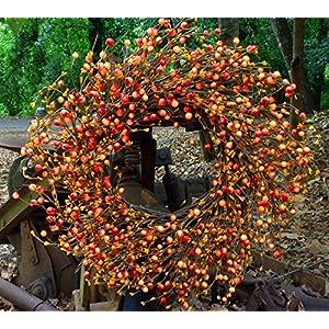 "Flora Decor Autumn Orange Berry Wreath 24"" 109"