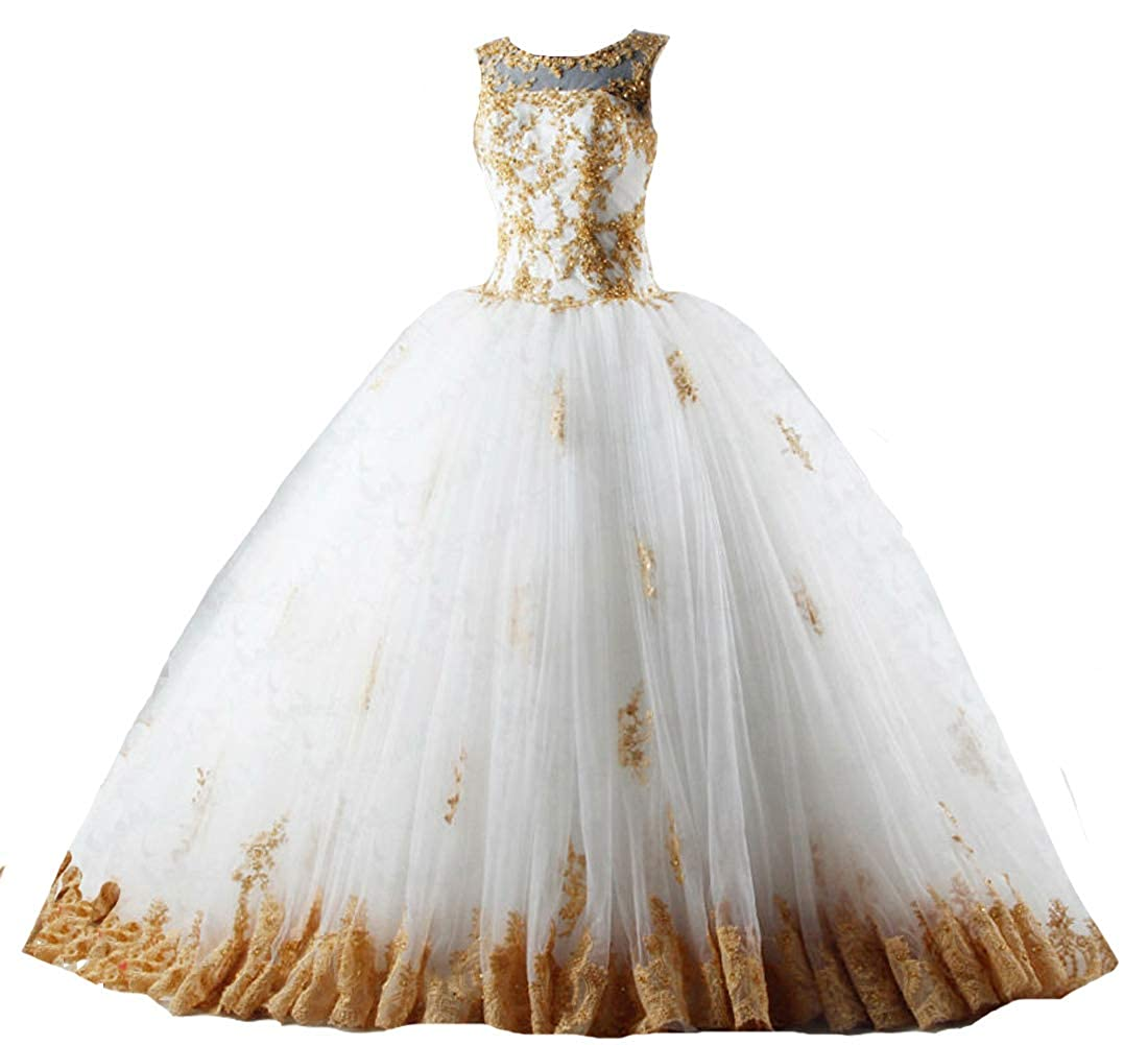 Bateau Ivory and gold Kivary gold Lace Beaded Long Ball Gown Chapel Train Tulle Bridal Wedding Dresses