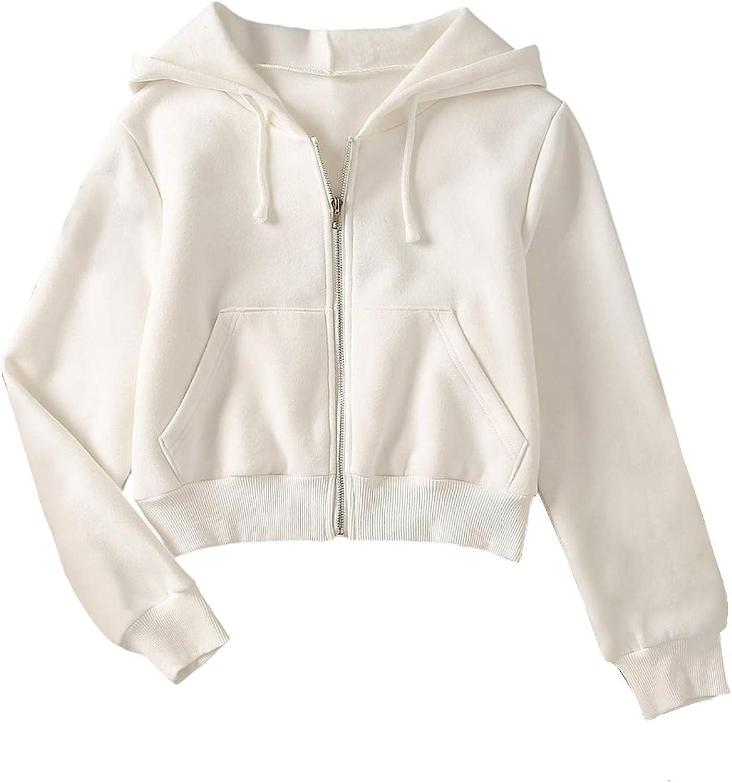 SheIn Women's Crop Zip Up Drawstring Pocket Zipper Luxury Now on sale goods Basic Hooded