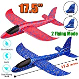 "2 Pack Airplane Toy, 17.5"" Large Throwing Foam Plane, Dual Flight Mode, Aeroplane Gliders, Flying Aircraft, Gifts for Kids, 3 4 5 6 7 Year Old Boy,Outdoor Sport Game Toys Birthday Party Favors"
